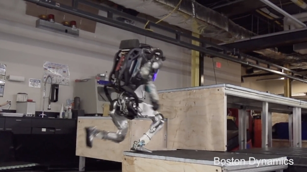 Boston Dynamics' humanoid Atlas robot 'does parkour'