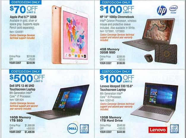 One Of The Best Deals Costcos Ad Has Is On A Dell XPS 13 4K UHD Touchscreen Laptop With 500 Discount That Machine An 8th Gen Intel Core I7