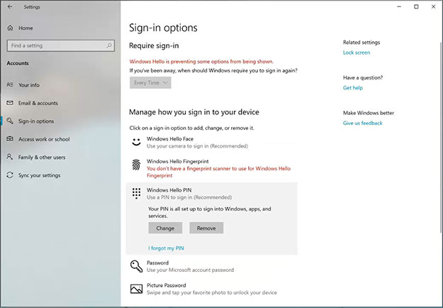 Windows Sign-In Options