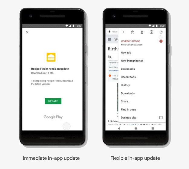 android immediate and flexible updates