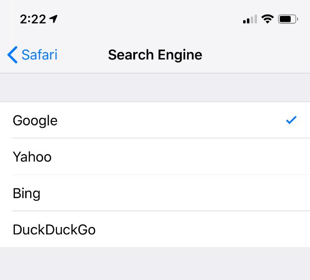 ios safari default google