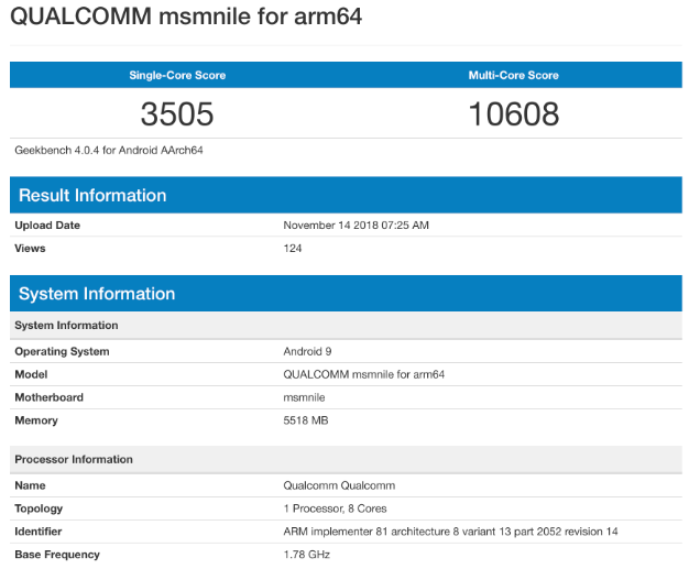 snapdragon 8150 geekbench