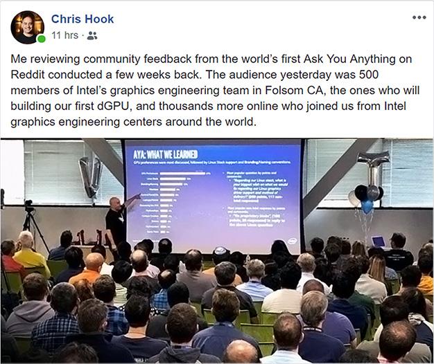 Intel's Hook Seen Detailing Community Feedback As GPU