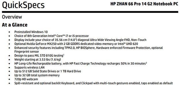 HP Zhan 66 Pro 14 G2 Specs