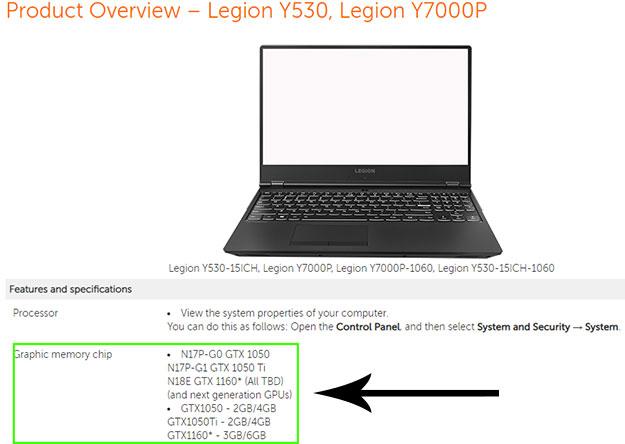 Lenovo Legion Y530 Listing Confirms Upcoming Geforce Gtx 1160
