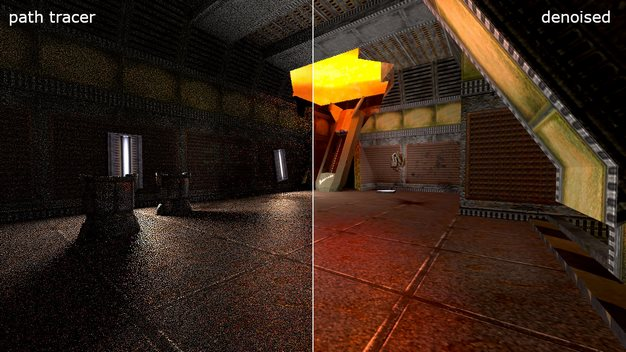 Quake 2 Ray Traced path tracer denoised