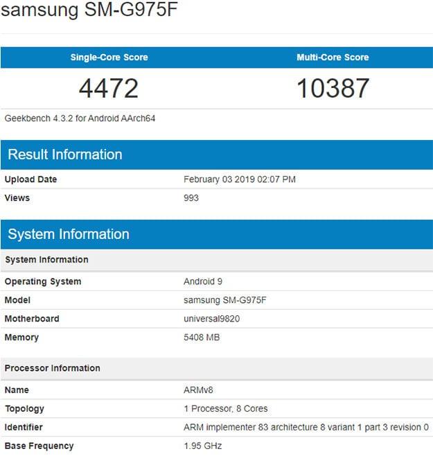 Samsung Galaxy S10 Geekbench
