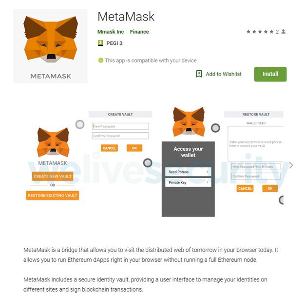 lista de aplicaciones de metamask eset