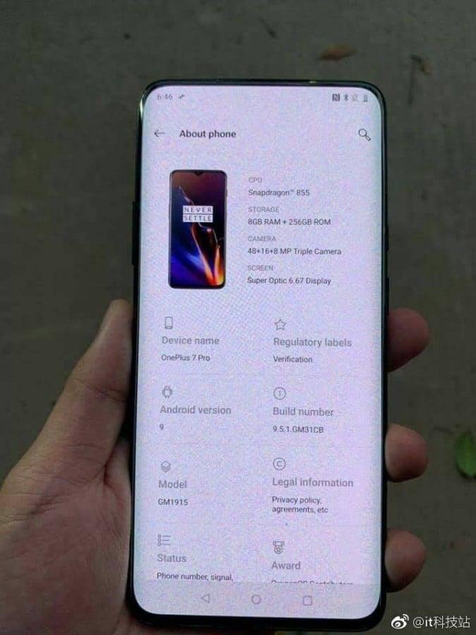 Alleged OnePlus 7 Pro 5G Phone Images Leak Showing Bezel