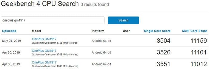OnePlus 7 Geekbench Scores