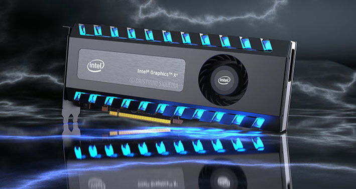 Intel Xe graphics dragon scale design high end card