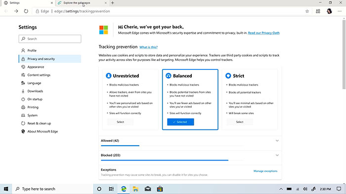 chromium edge web tracker privacy