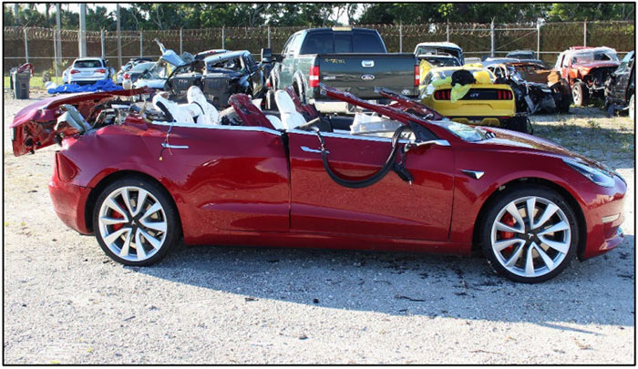 Tesla Fatal Crash Car Roof Sheered Off