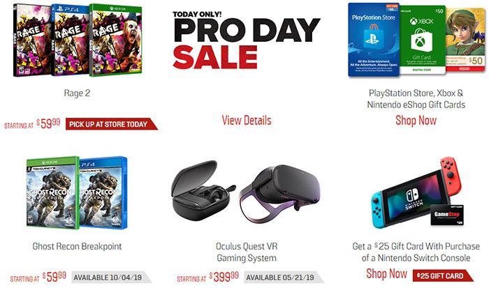 GameStop Pro Day Sale