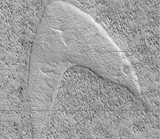NASA Orbiters Finds Star Trek Logo Shaped Dune On Mars Surface