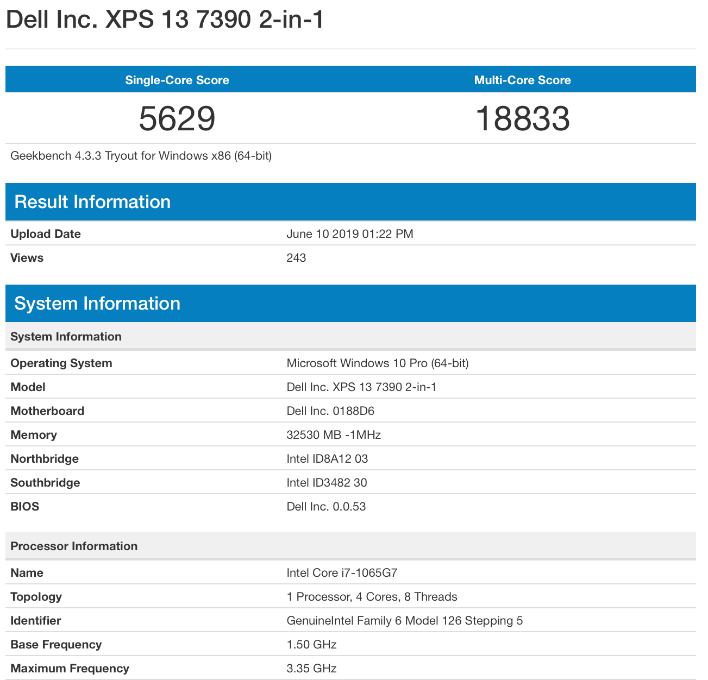 dell xps 13 geekbench 2