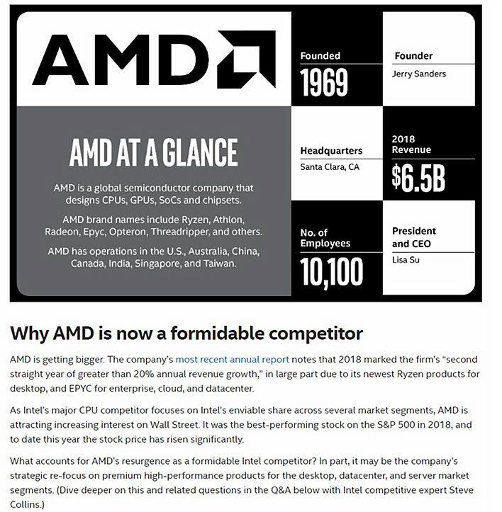 Intel internal memo regarding AMD