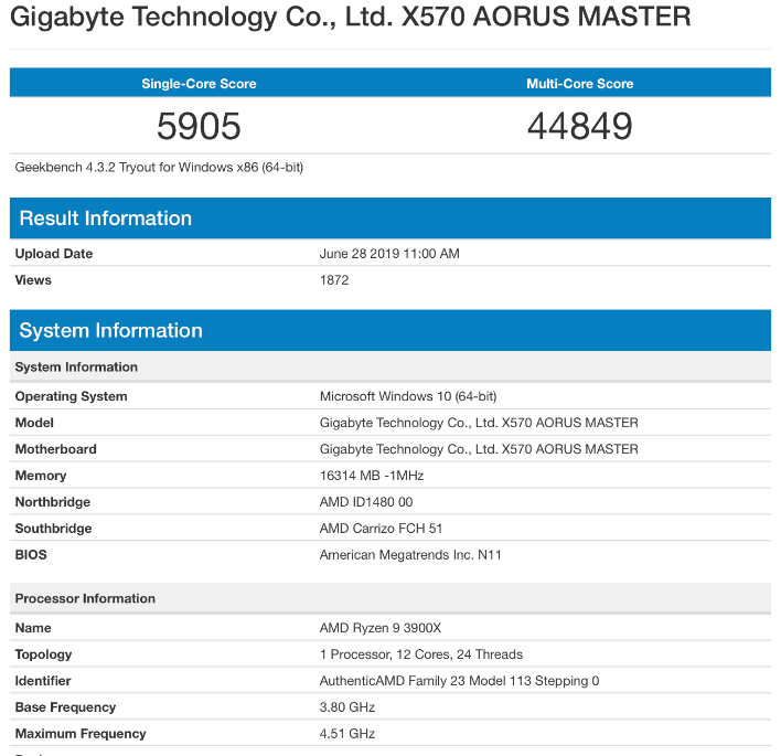 amd ryzen 3900x geekbench