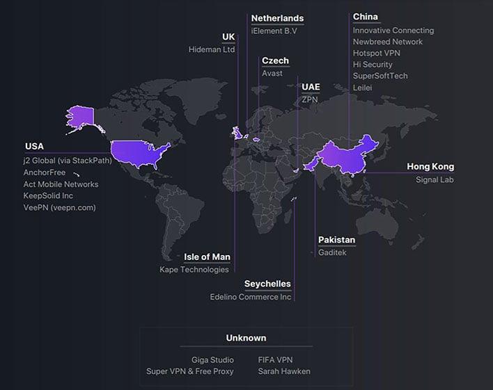 vpnpro vpn company world map