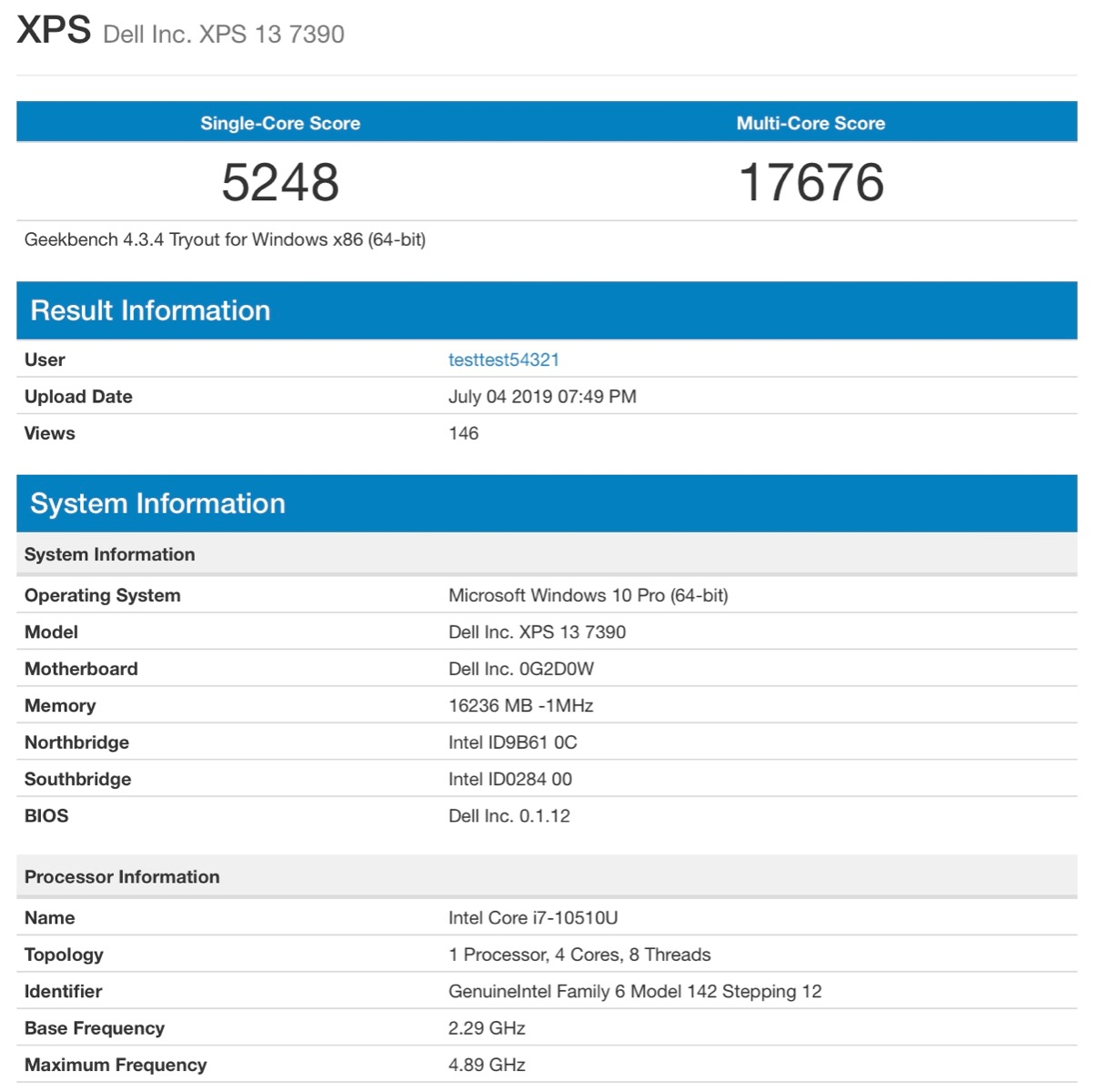 Dell XPS 13 Rocking Intel 10th Gen Comet Lake-U CPU Leaks In New Benchmarks