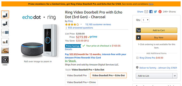 Ring Video Doorbell Pro and Echo Dot