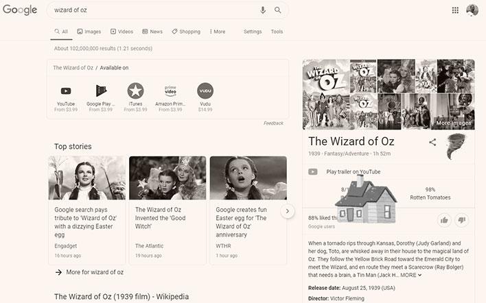 Wizard of Oz Google Easter Egg