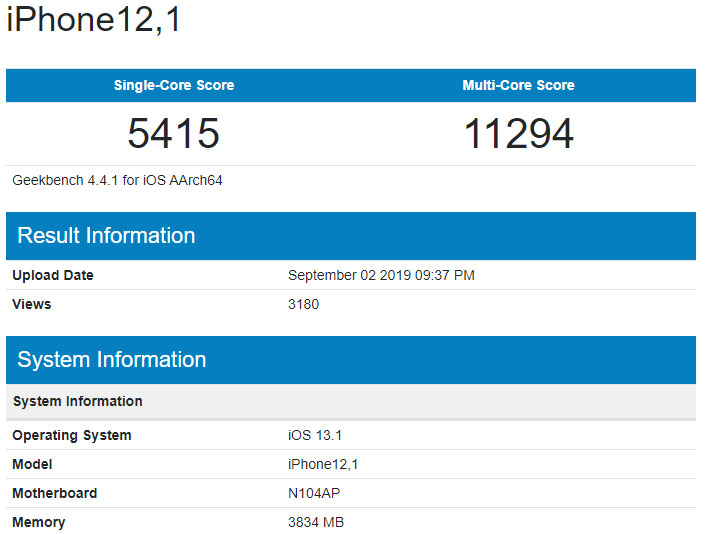 Next-Generation iPhone XR Geekbench