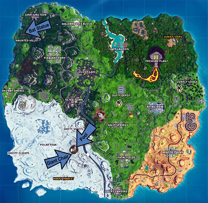Where To Find Fortnite Bat Statue Giant Seat And Pool
