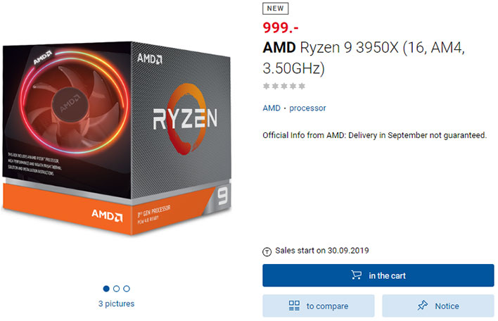 AMD Ryzen 9 3950X Listing