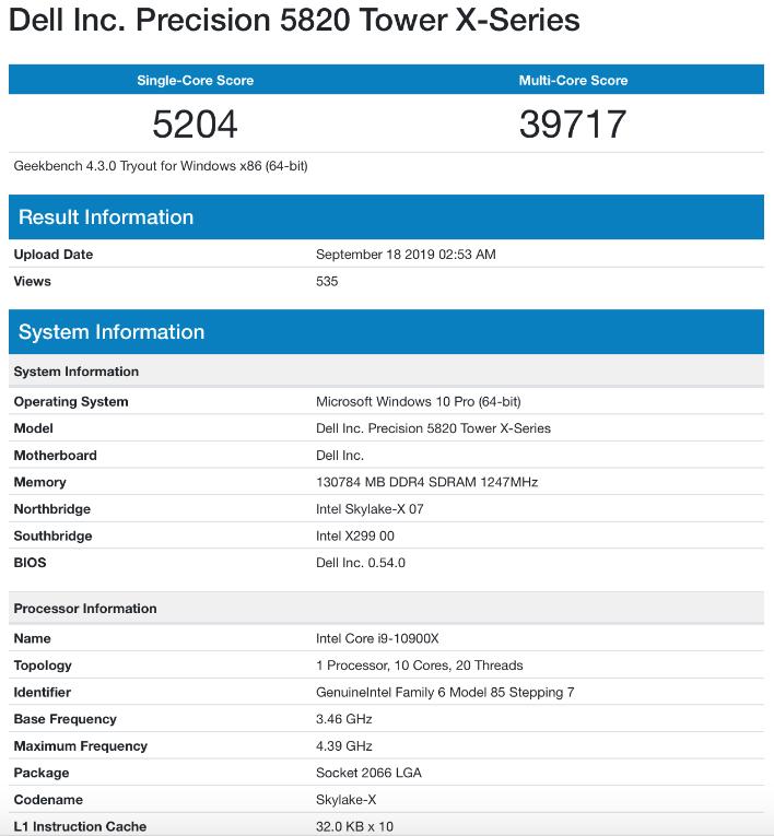 intel Core i9 10900X geekbench