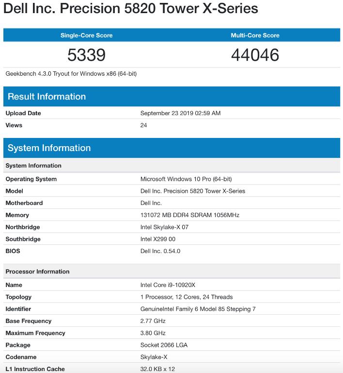 Core i9 10920X geekbench