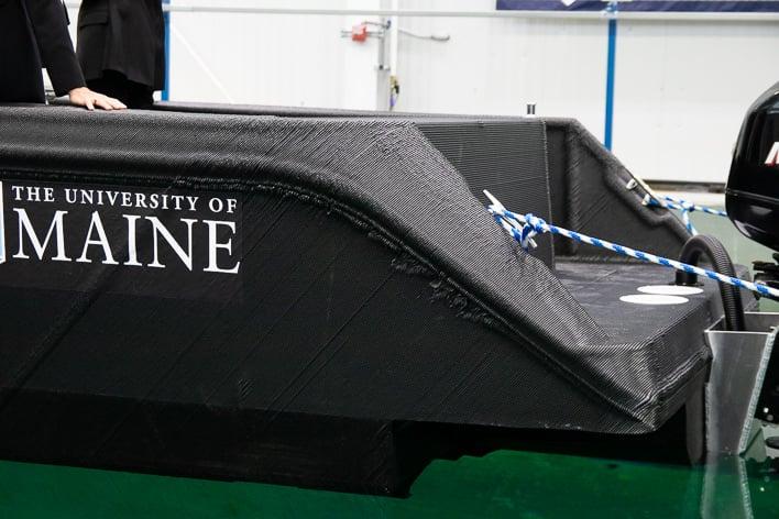 umaine 3d printer 3dirigo boat closeup