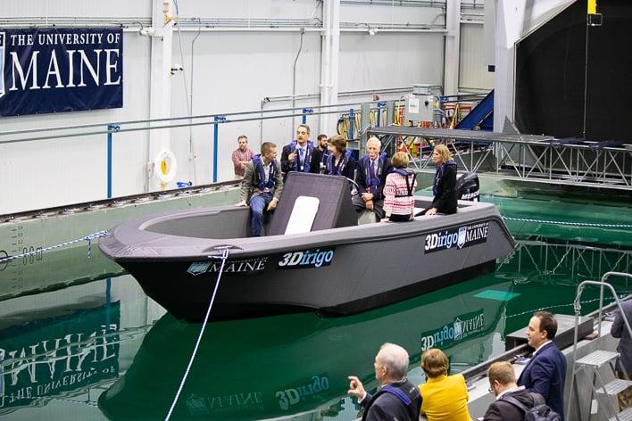 umaine 3d printer 3dirigo boat wave pool test