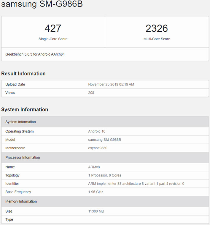 Samsung Galaxy S11 5G Geekbench