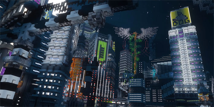 Minecraft Cyberpunk 2077 City