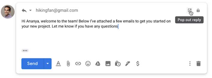 gmail pop out reply