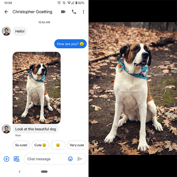 google rcs chat features high res photos