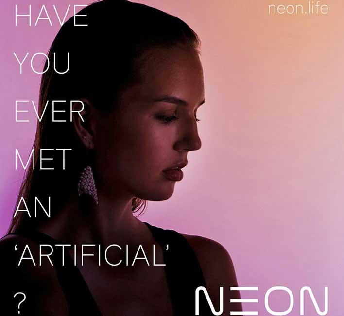 neon ai woman