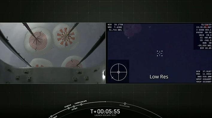 spacex crew dragon parachutes