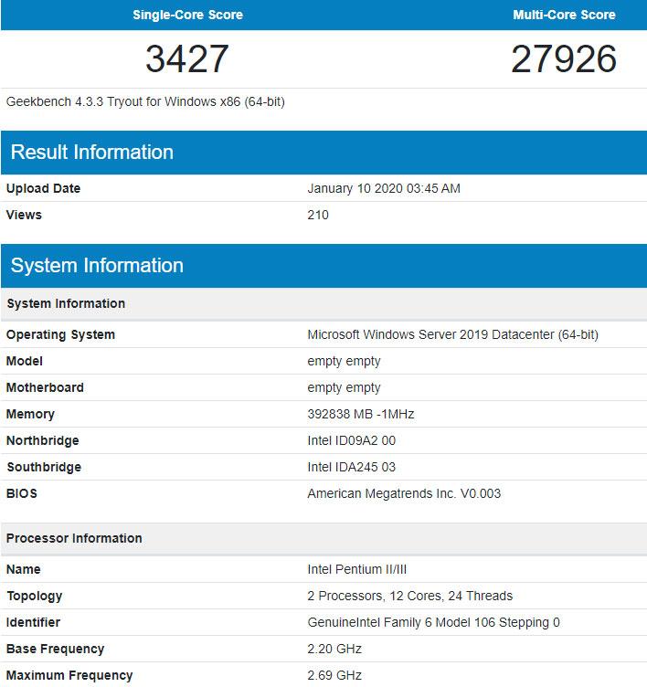Intel Ice Lake-SP Xeon Geekbench