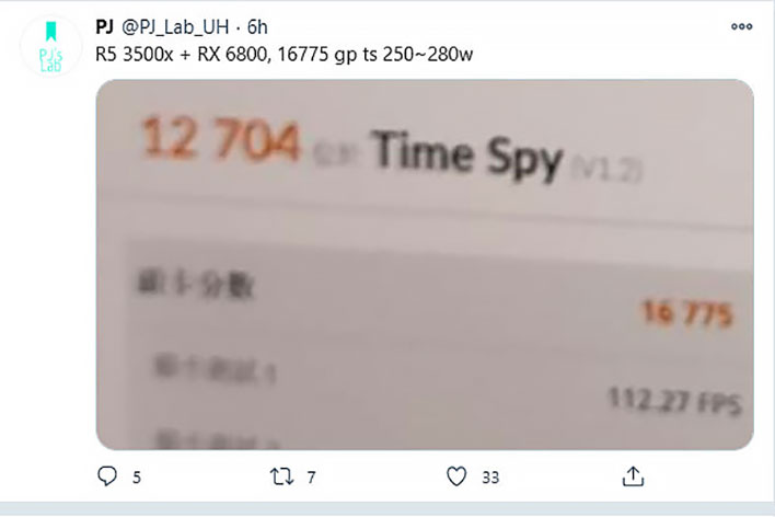Time Spy Leak radeon rx 6800 Tweet