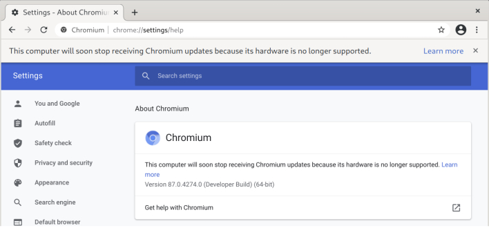 google chrome ending support for nearly 20 year old processors warning