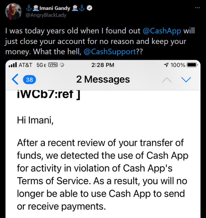 cashapp freezes user account and holds money hostage origin tweet