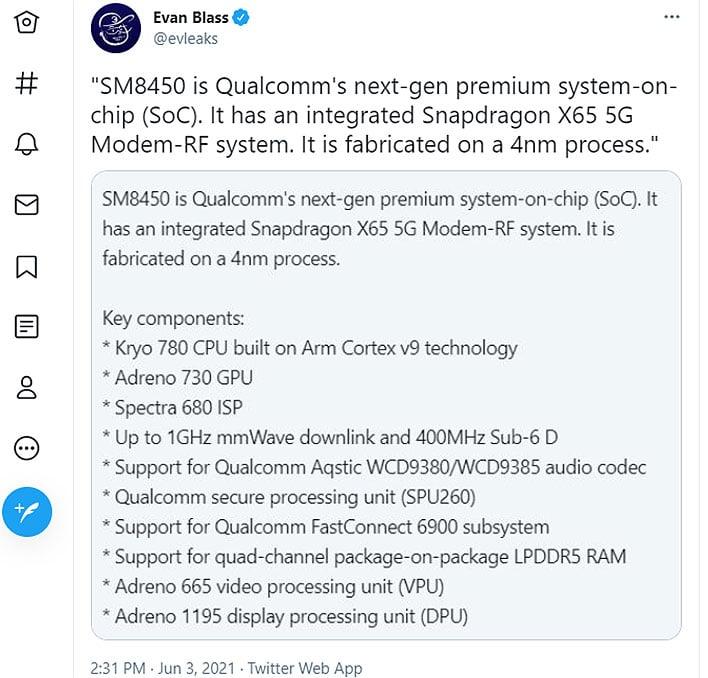 Tweet de Qualcomm SM8450