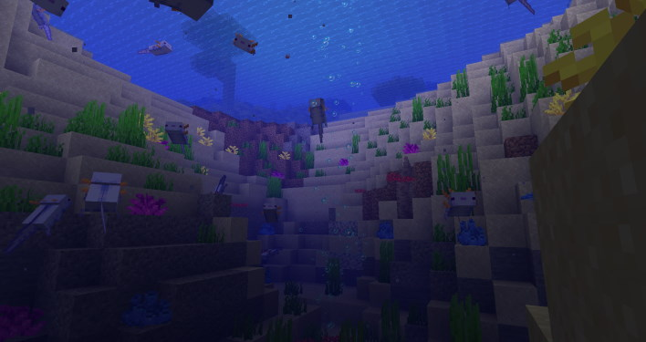 blue axolotl entire pond minecraft 117 how to find axolotl and amethyst grow glow berries and craft a lightning rod