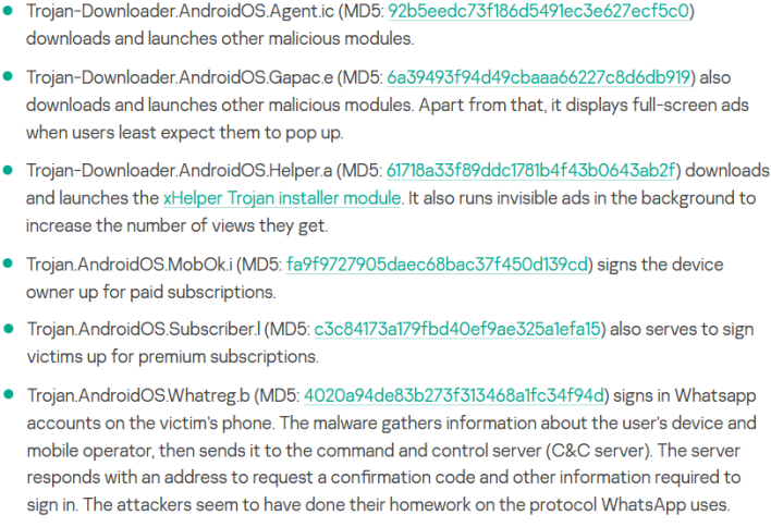 malwares in modded whatsapp version