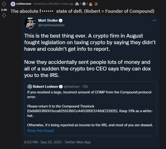 callout compound finance gives away millions in crypto accidentally