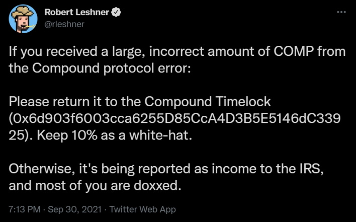 leshner bad tweet compound finance gives away millions in crypto accidentally