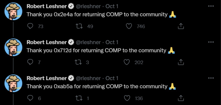 leshner thx tweet compound finance gives away millions in crypto accidentally