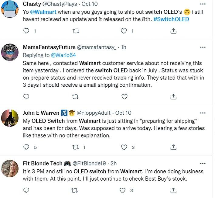 Nintendo Switch OLED reclama reclamații pe Twitter.